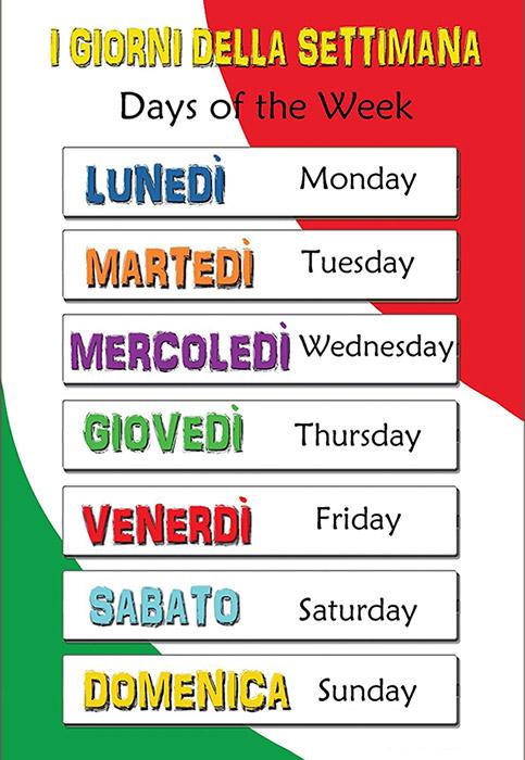 روز های هفته در زبان ایتالیایی - giorni della settimana